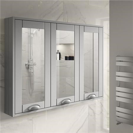 900mm Wall Hung Mirrored Cabinet - Grey 3 Door Traditional Handle - Nottingham Range