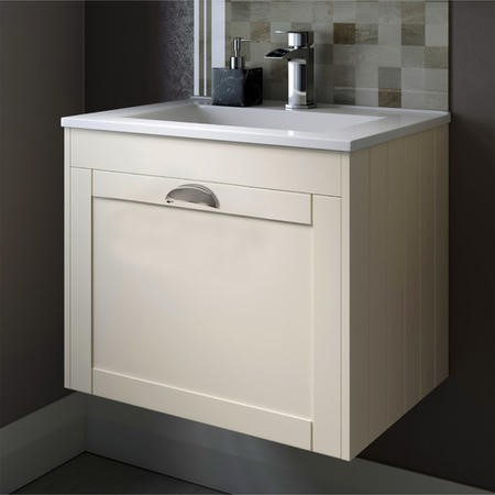 Nottingham Ivory 600 Single Drawer Wall Hung Vanity Unit-Traditional Door Handle