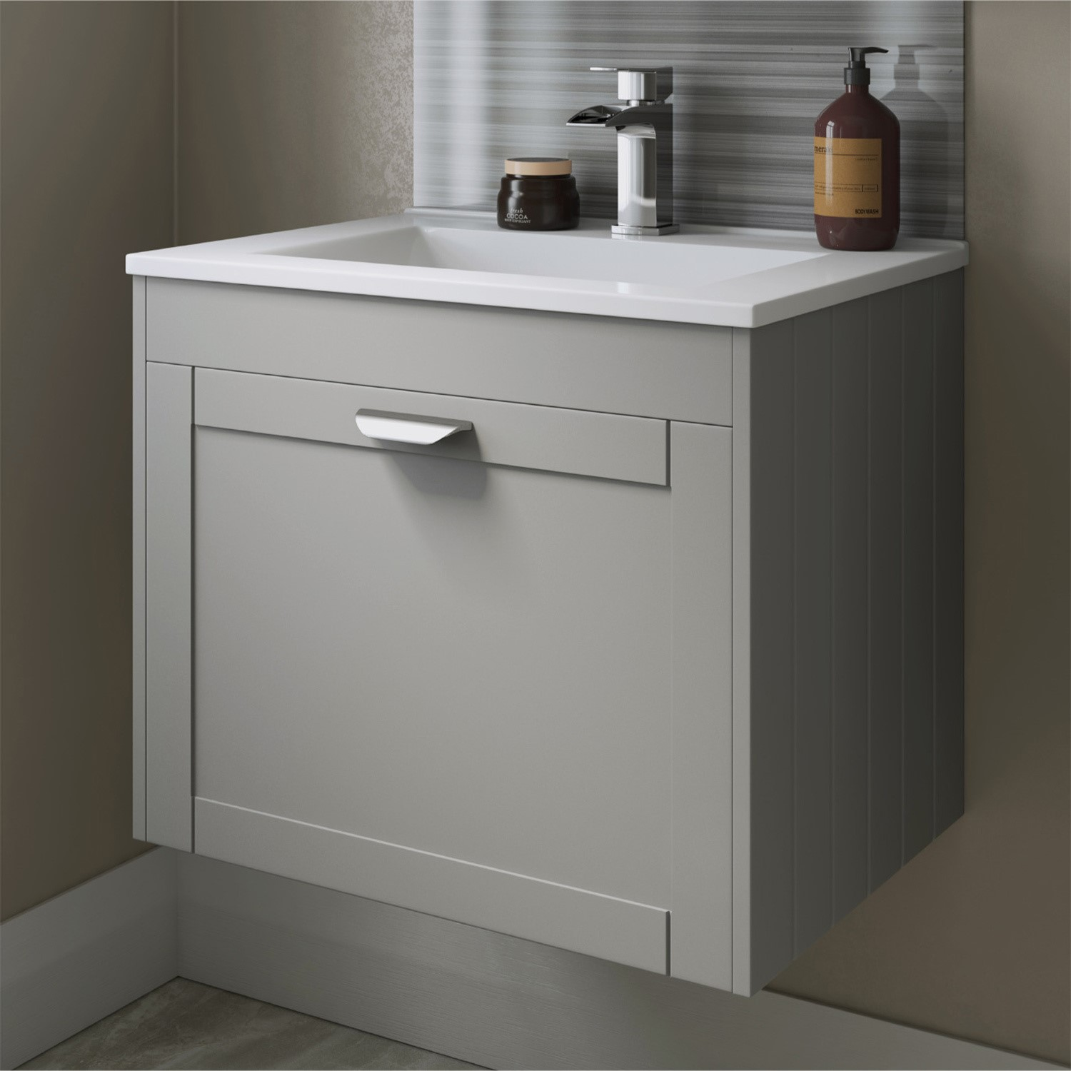 Nottingham 600mm Wall Hung Basin Vanity Unit Grey Single Drawer Modern Handle