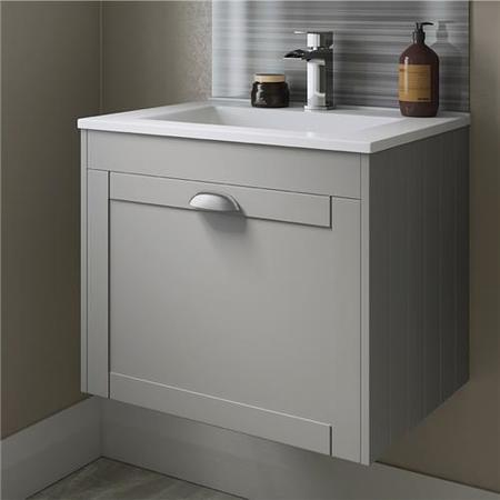 600mm Wall Hung Basin Vanity Unit - Grey Single Drawer Traditional Handle - Nottingham Range