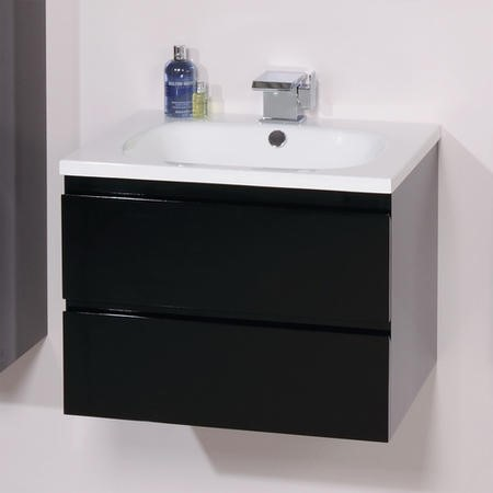 600mm Wall Hung Vanity Basin Unit - Black Double Drawer - Barcelona Range
