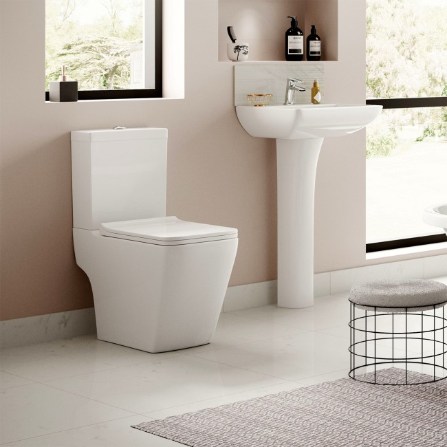 500mm Close Coupled Toilet and Basin Full Pedestal Suite - Voss Range