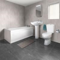 1700mm Straight Bath Suite with Toilet  Basin & Front Panel