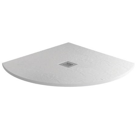 900 x 900 White Slate Effect Quadrant Shower Tray with Waste