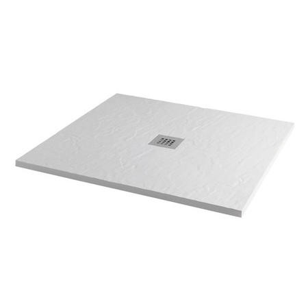 900 x 900 White Slate Effect Square Shower Tray with Waste