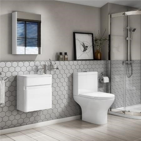 Close Coupled Toilet & White Gloss 410mm Vanity Basin Unit Suite - Portland