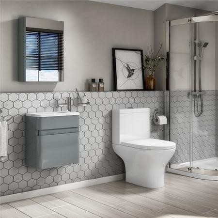 410mm Wall Mounted Light Grey Gloss Vanity Unit with Close Coupled Toilet Suite - Portland
