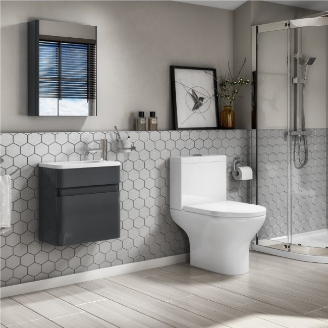 410mm Wall Mounted Dark Grey Gloss Vanity Unit with Close Coupled Toilet Suite - Portland