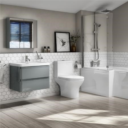 Portland 600 Wall Mounted Crisp Mist Gloss Vanity Unit with Portland Close Coupled Toilet Suite