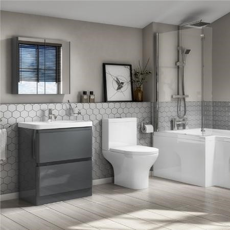 Portland 600 Floor Standing Storm Grey Gloss Vanity Unit with Portland Close Coupled Toilet Suite