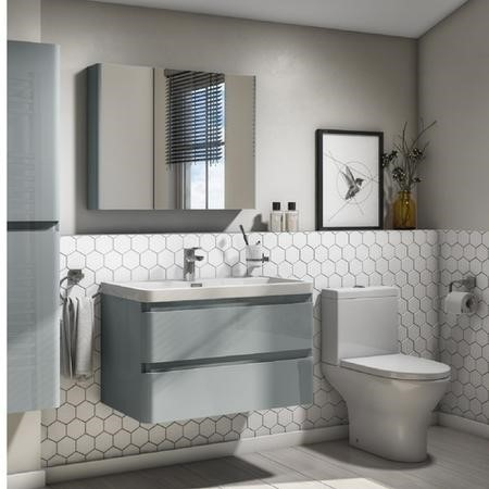 Portland 800 Wall Mounted Crisp Mist Gloss Vanity Unit with Portland Close Coupled Toilet Suite