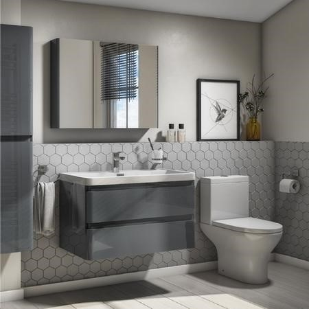 Portland 800 Wall Mounted Storm Grey Gloss Vanity Unit with Portland Close Coupled Toilet Suite