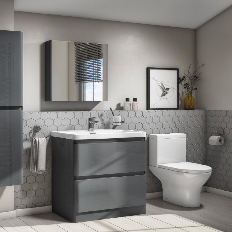 Plumbing Tools Portland 800 Floor Standing Storm Grey Gloss Vanity Unit with Portland Close Coupled Toilet Suite