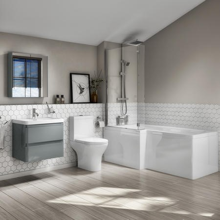 L Shaped Bath Suite with Toilet 600mm Light Grey Wall Hung Vanity Unit Screen & Panel -Left Hand