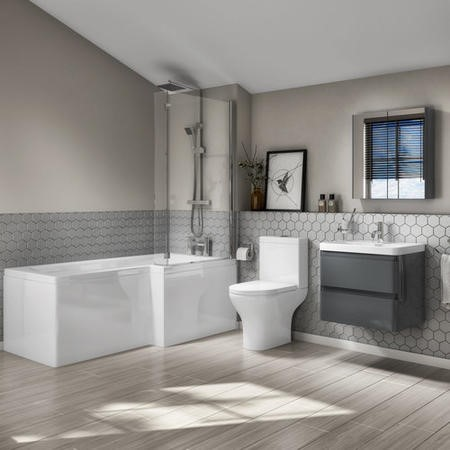 L Shaped Bath Suite with Toilet 600mm Dark Grey Wall Hung Vanity Unit Screen & Panel -Right Hand