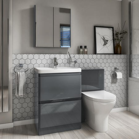 Toilet and Basin Combination Unit - 2 Drawer - Dark Grey - Portland