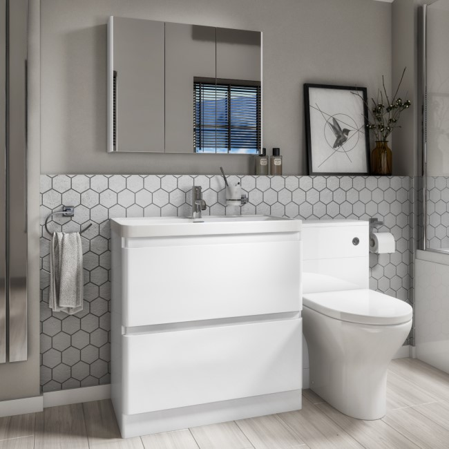 1300mm Toilet & Basin Combination Unit - 2 Drawer - White - Portland