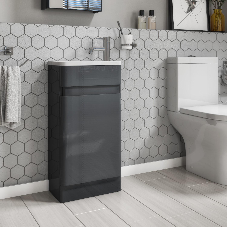 410mm Dark Grey Cloakroom Vanity Unit, Dark Grey Bathroom Vanity Unit