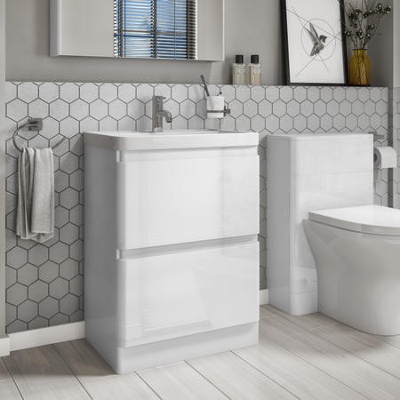 600mm White Gloss Floorstanding Vanity Basin Unit with 2 Drawers - Portland