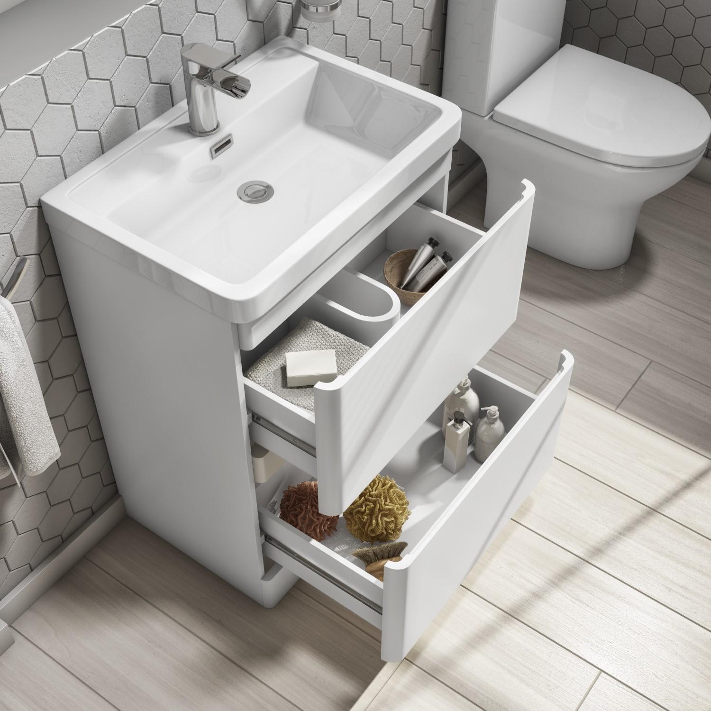 600mm White Freestanding Vanity Unit, Bathroom Vanity Freestanding Sink