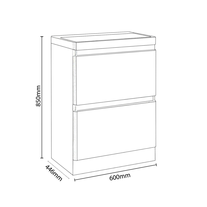 600mm White Gloss Floorstanding Vanity