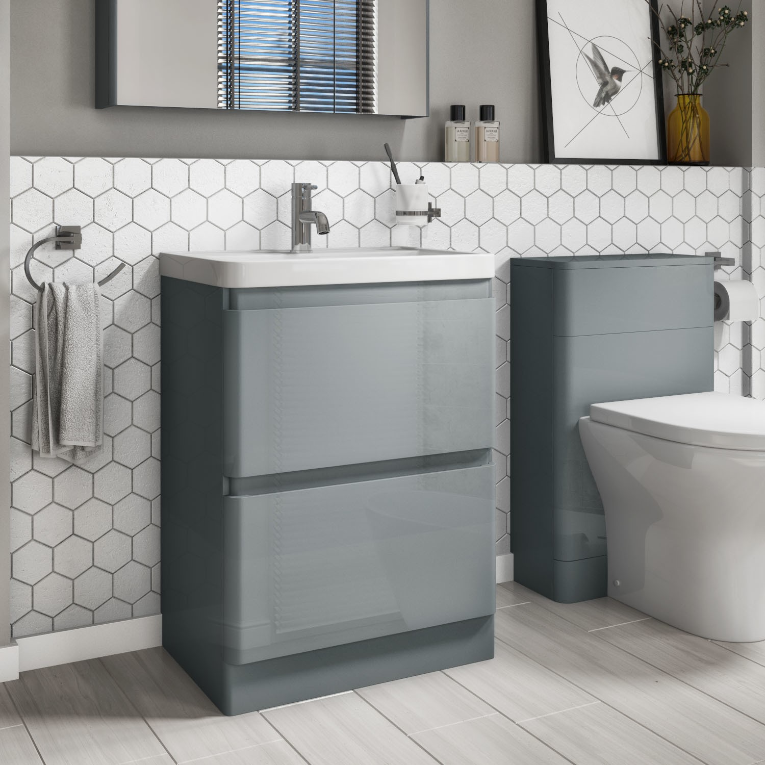600mm Light Grey Gloss Floor Standing 2 Drawer Vanity Unit With Basin Portland Better Bathrooms