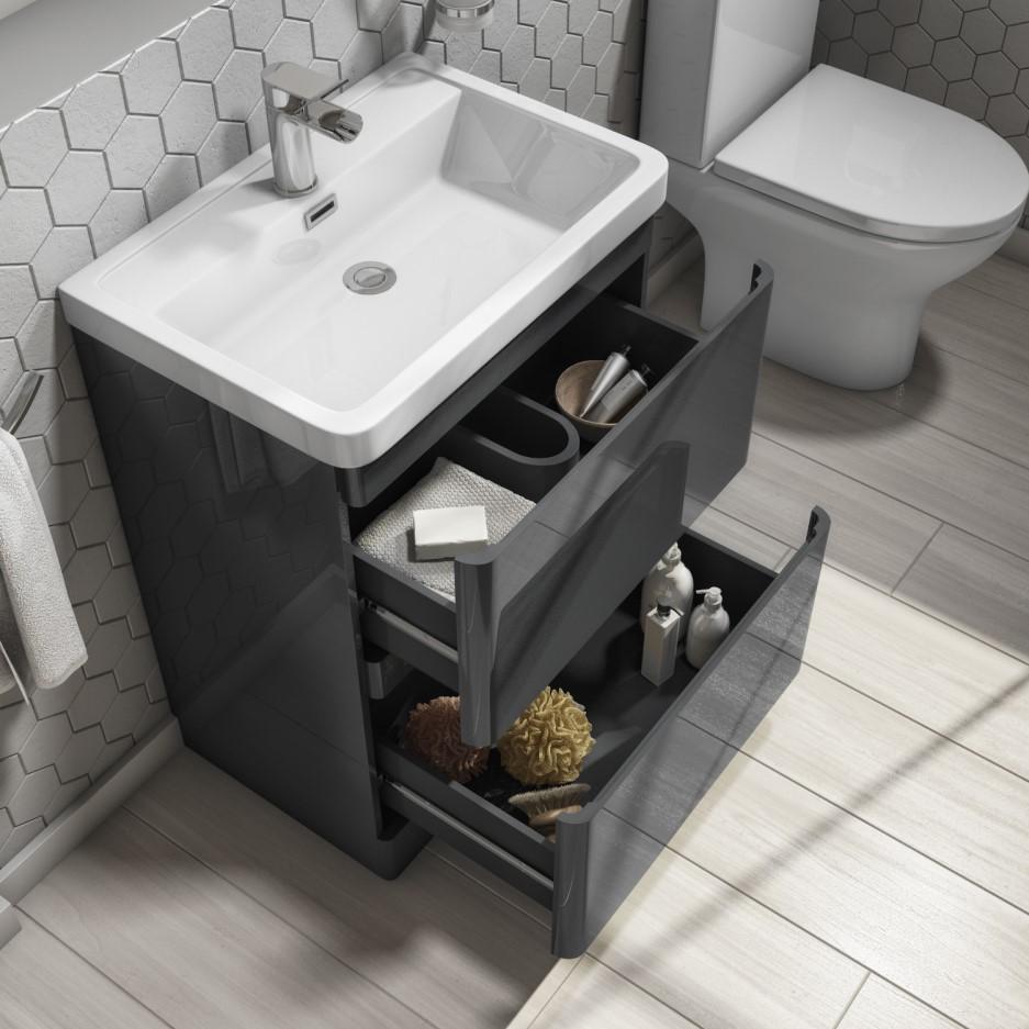 600mm Dark Grey Gloss Floor Standing Vanity Unit with ...