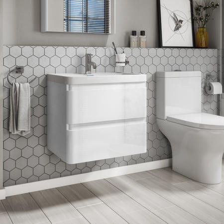 Portland 600 Wall Mounted Ice White Gloss Vanity Unit