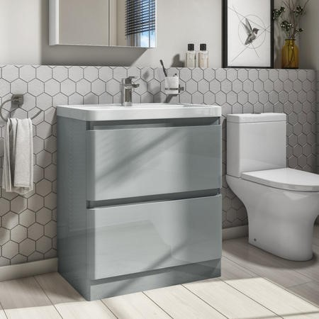800mm Light Grey Gloss Floorstanding 2 Drawer Vanity Unit with Basin - Portland