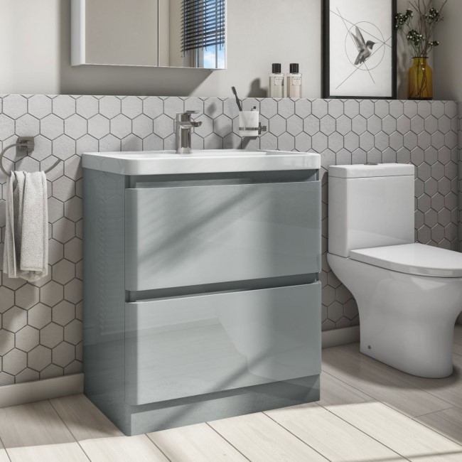 800mm Light Grey Freestanding Vanity Unit with Basin - Portland