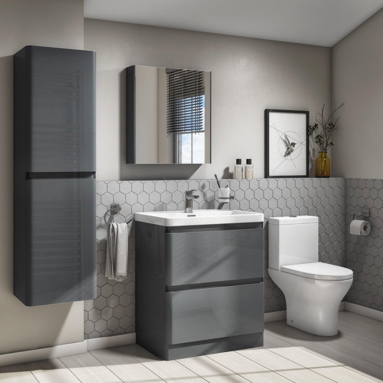 3mm Dark Grey Gloss Floor Standing 3 Drawer Vanity Unit with Basin -  Portland
