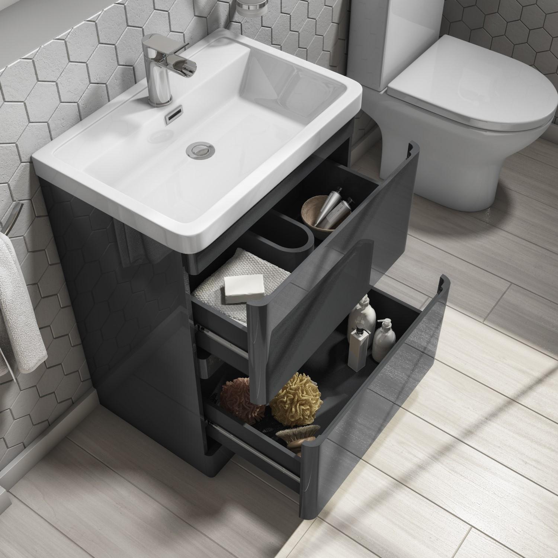 800mm Dark Grey Freestanding Vanity, Bathroom Vanity Freestanding Sink