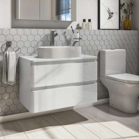800mm Wall Hung Vanity Unit with 525mm Countertop Basin - White Gloss - 2 Drawers - Portland Range