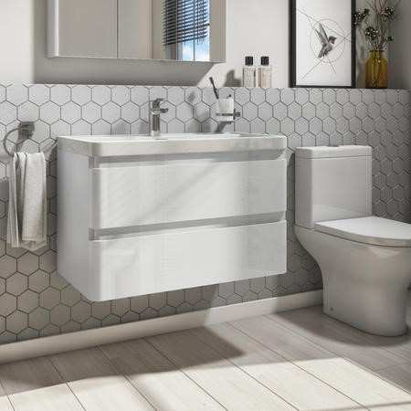 800mm White Gloss Wall Hung 2 Drawer Vanity Unit with Basin - Portland