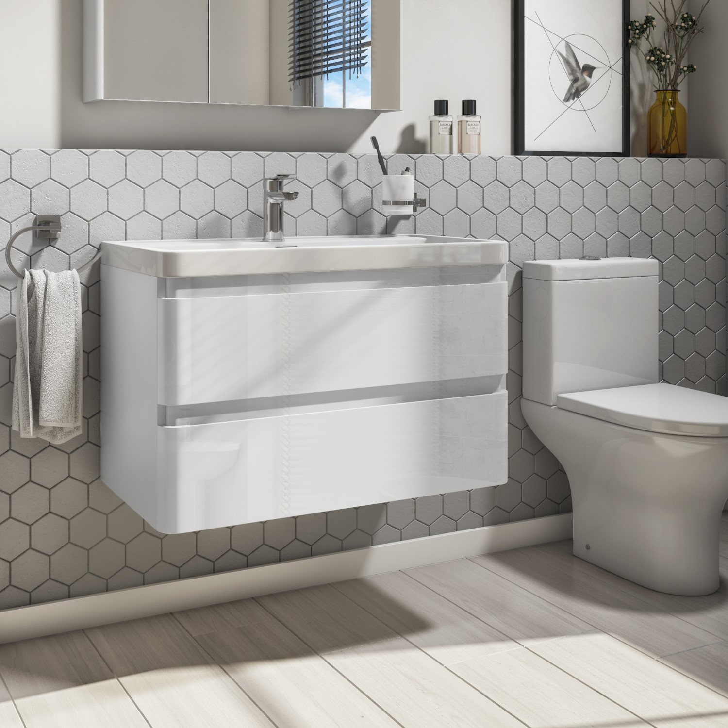 800mm Wall Hung Vanity Unit With Basin 2 Drawer White Portland Range