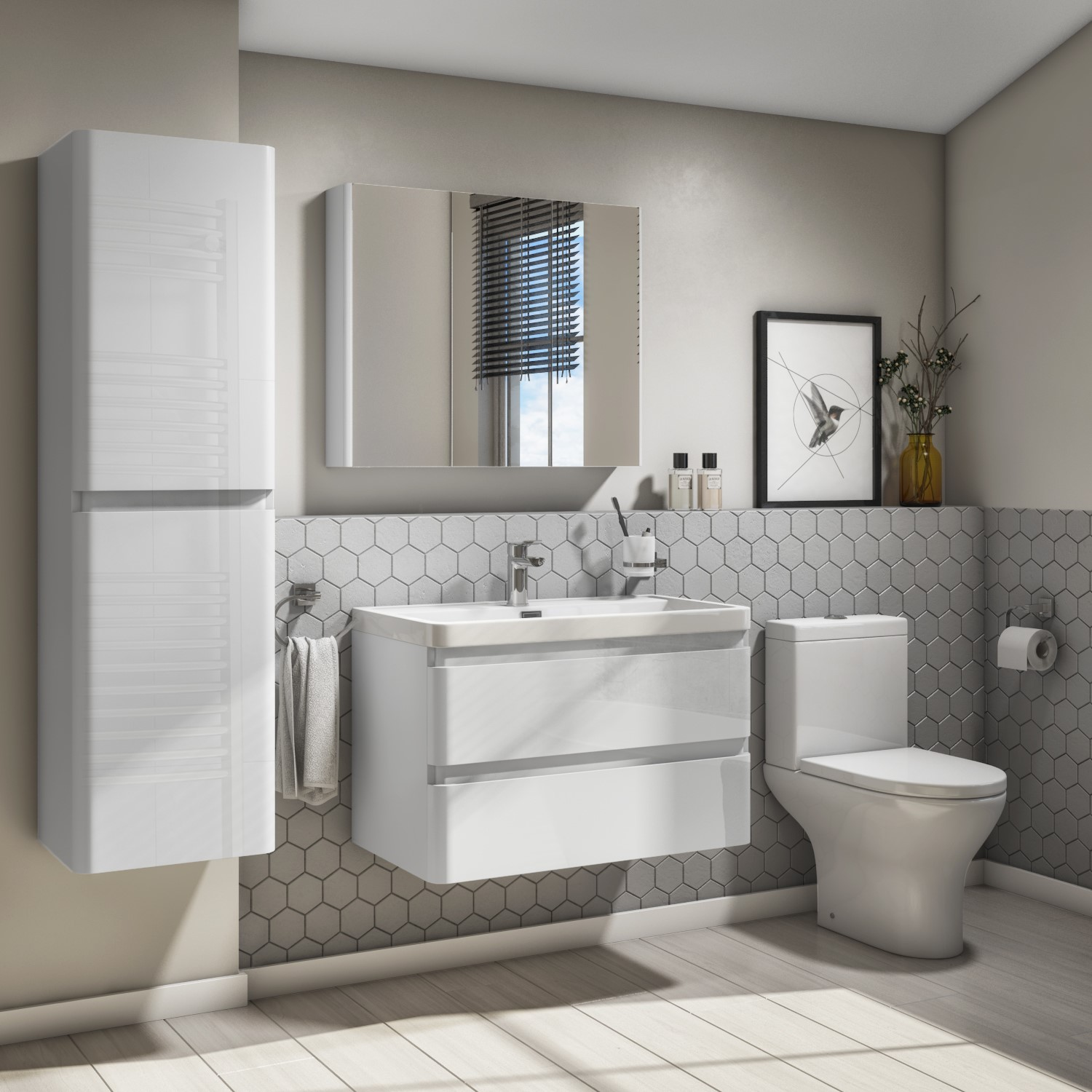 800mm White Gloss Wall Hung 2 Drawer Vanity Unit With Basin Portland Better Bathrooms