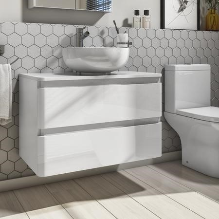 Portland 800 Wall Mounted Ice White Gloss Countertop Vanity Unit