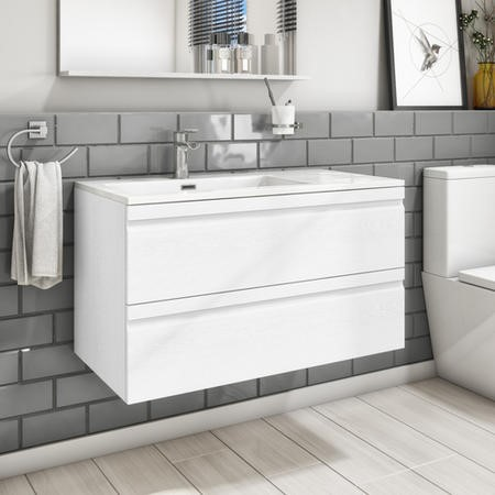 900mm Wall Hung Vanity Basin Unit - White Double Drawer -  Boston Range