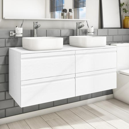 1200mm Wall Hung 4 Drawer Vanity Unit with 2 Dover 385mm Basins White Oak- Boston