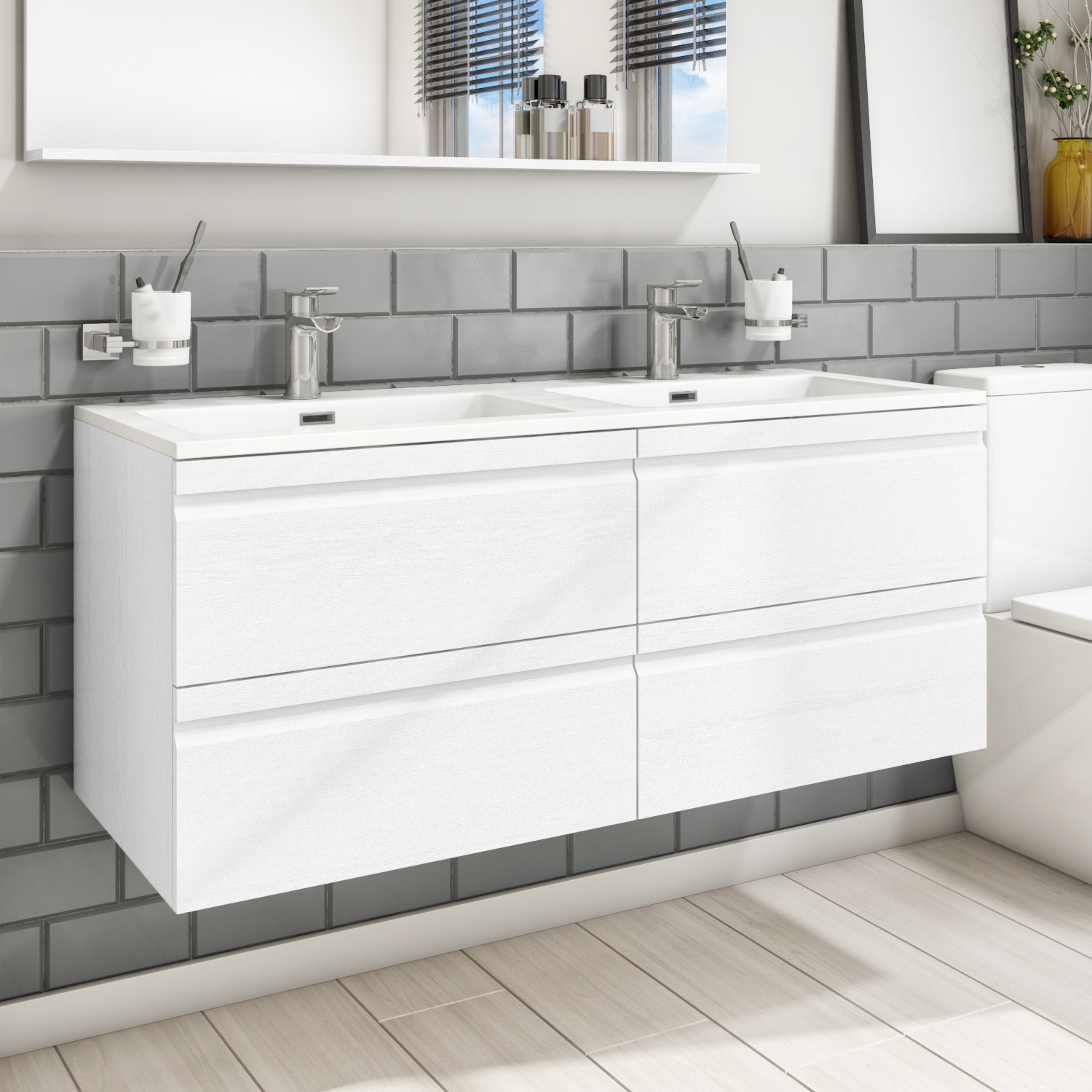 1200mm Wall Hung 4 Drawer Double Vanity