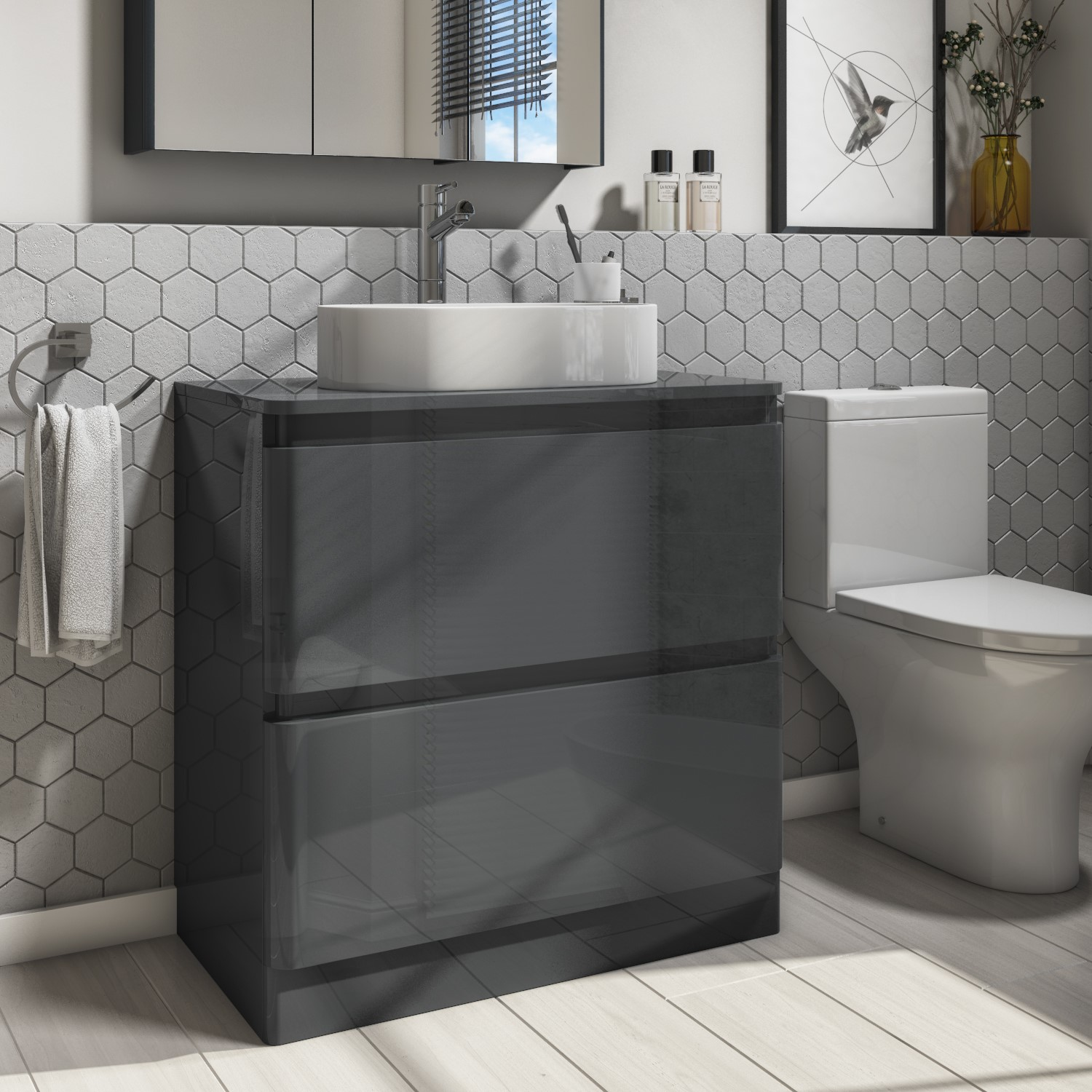 800mm Dark Grey Vanity Unit 2 Drawer With 525mm Countertop Basin Portland Better Bathrooms