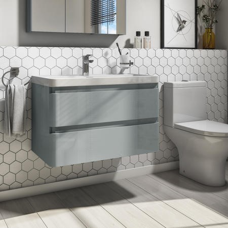 800mm Light Grey Gloss Wall Hung 2 Drawer Vanity Unit with Basin - Portland