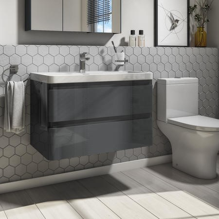 800mm Dark Grey Gloss Wall Hung 2 Drawer Vanity Unit with Basin - Portland