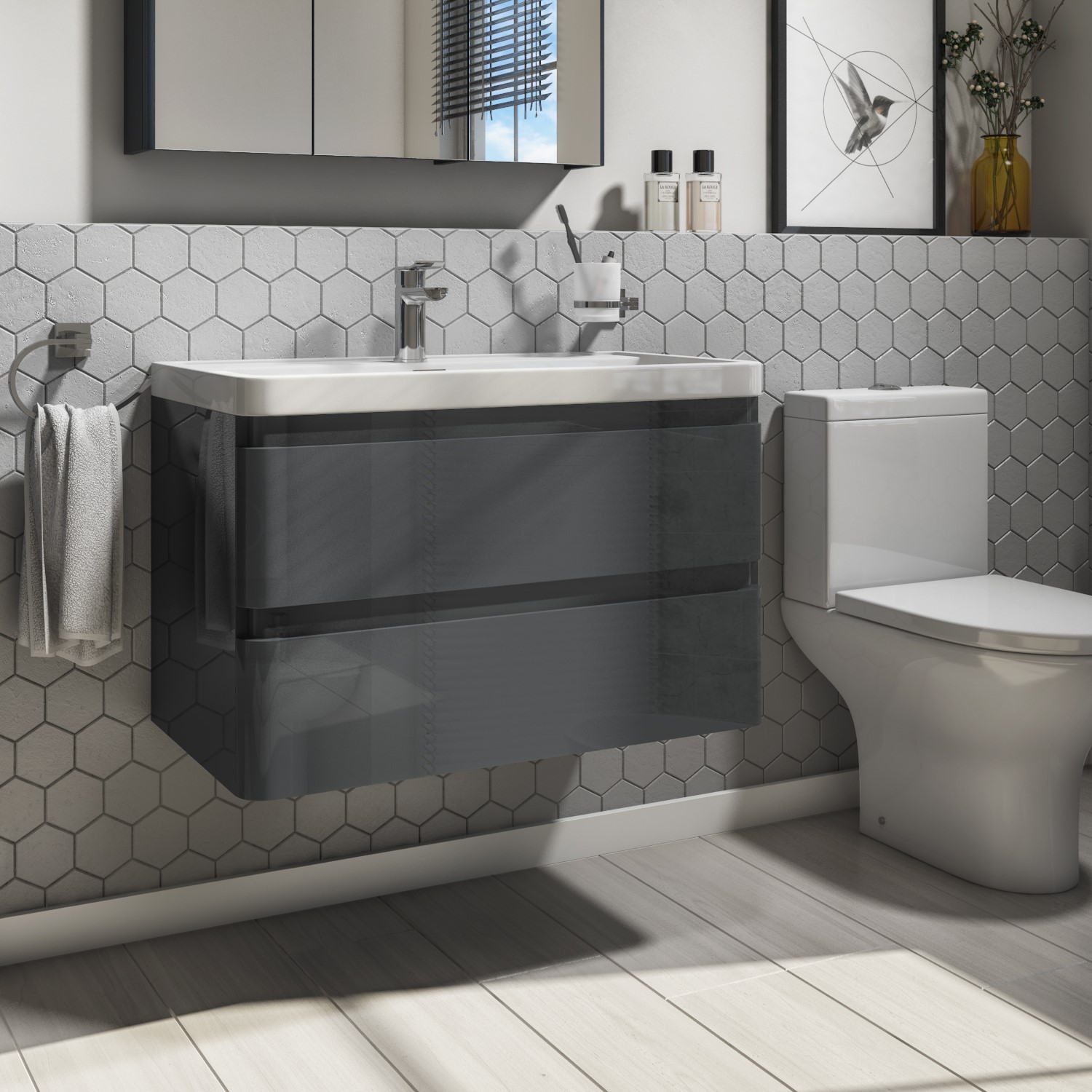 800mm Dark Grey Gloss Wall Hung 2 Drawer Vanity Unit With Basin Portland Better Bathrooms