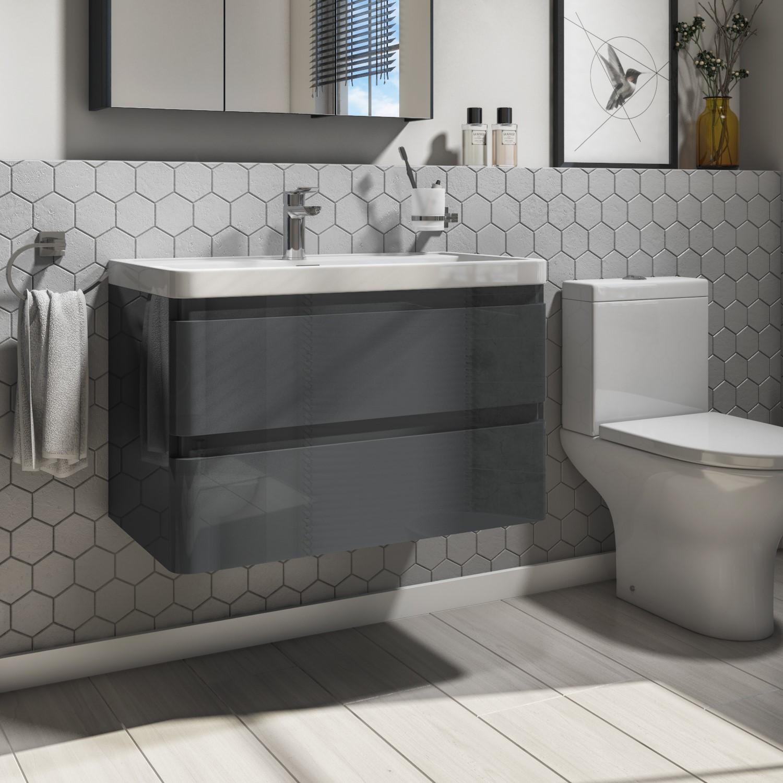 800mm Wall Hung Vanity Unit With Basin 2 Drawers Dark Grey Portland Range