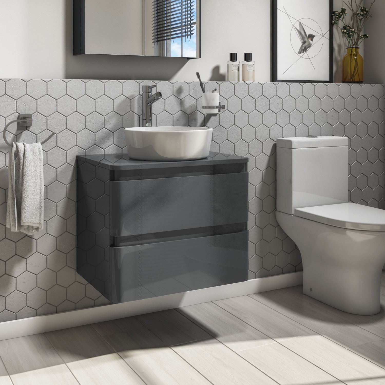 600mm Dark Grey Gloss Wall Hung Vanity Unit With 415mm Countertop Basin 2 Drawers Portland Better Bathrooms