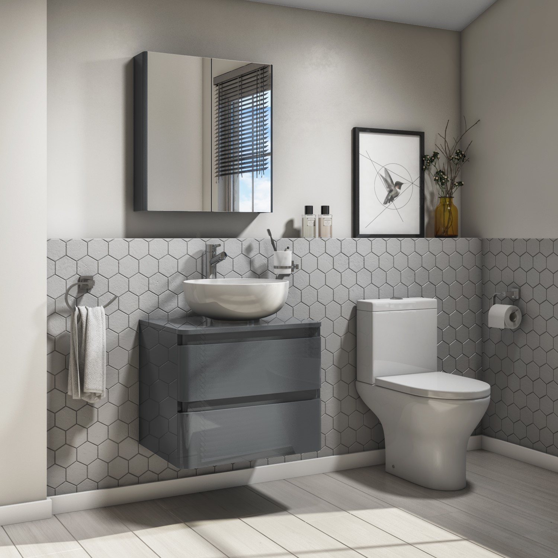 600mm Dark Grey Gloss Wall Hung Vanity, Dark Grey Bathroom Vanity Unit