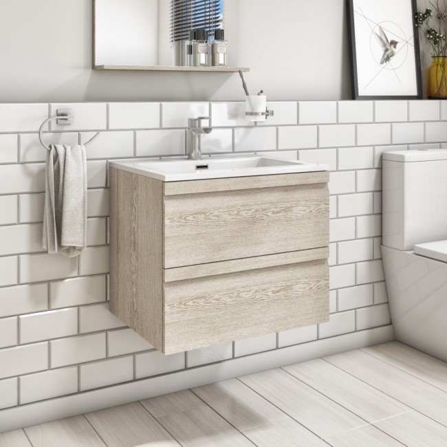 600mm Wall Hung 2 Drawer Vanity Unit with Basin Light Oak - Boston