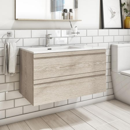 900mm Wall Hung 2 Drawers Vanity Unit with Basin Light Oak - Boston