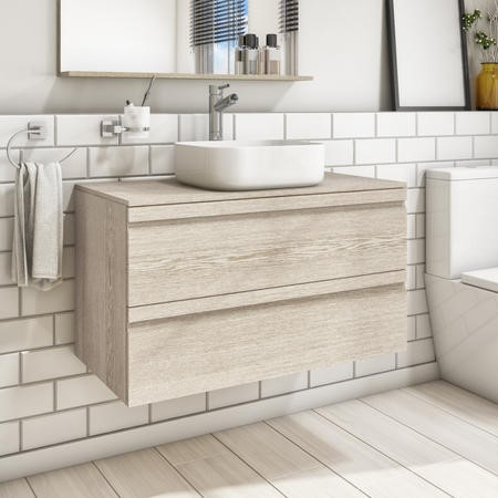 900mm Wall Hung Vanity Unit - Sandy Oak Double Drawer - Boston Range